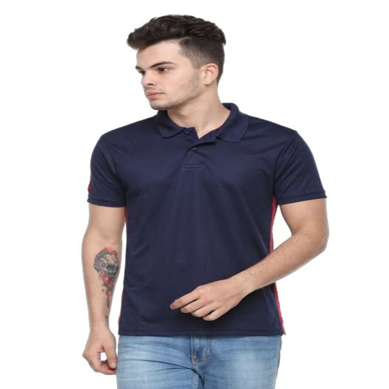Flying Machine Men's Playdry Navy Blue Tshirt